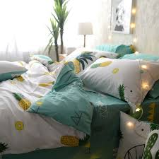 yellow green white and mint green tropical fruit pineapple print rustic country style 100 cotton twin full queen size bedding sets
