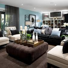 basement - Living room decorating ideas - decorating around a black leather  couch