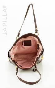 ... coach f20432 gallery north south shoulder purse brown patent leather  tote tradesy