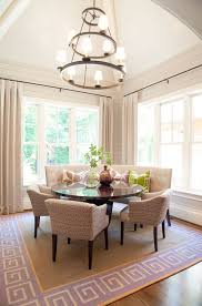custom curved banquette dining room neutral tones with