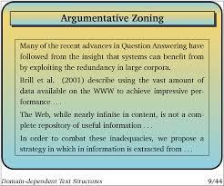 dependent text structures 10 argumentative zoning acircmiddot 11 motivation acircmiddot 12 approach acircmiddot 13 examples acircmiddot 14 kappa statistics