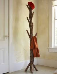 furniture vintage diy coat rack stand design with old tree and trunk in the corner