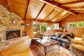 ... Living Room, Luxury Living Room With Fireplace, Leather Couch And Glass  Top Coffee Table ...