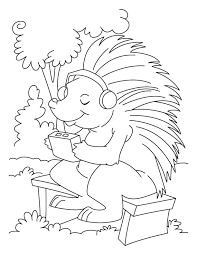 Small Picture Porcupine listening to music coloring pages Download Free