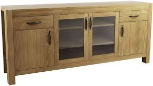qualita goliath oak 2 wood and 2 glass door wide sideboard cfs uk