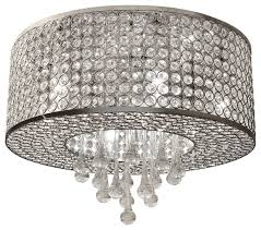 7 light round chrome crystal flush mount chandelier pendant light