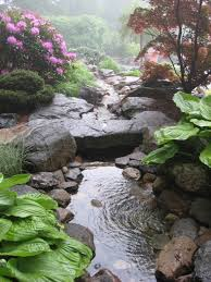 Small Picture Backyard waterfalls water garden stream with stone bridge in a