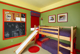 kids bedroom paint designs. entrancing wall color paint ideas for boys room design with wooden bunk bed along slide also purple sheet black board on the kids bedroom designs s