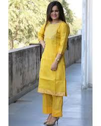 Kota Doria Suits Designs Yellow Kota Doria Suit Set