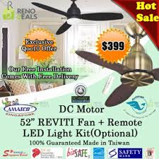 we confirmed our purchase for our ceiling fan today and we got the reviti from amasco both in black one 46 with led light for the study