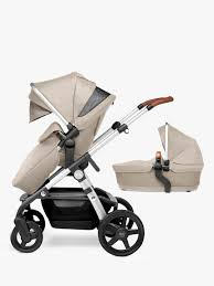 Designer Twin Prams Silver Cross Wave Pushchair And Carrycot Linen Baby