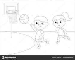 Vettore Bianco E Nero Bambini Che Giocano Bambini Che Giocano