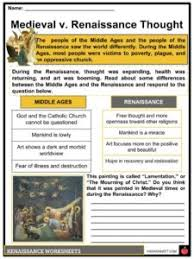 Middle Ages And Renaissance Comparison Chart The Renaissance Period Facts Information Worksheets