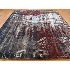 8 x9 8 hand knotted wool and silk abstract design oriental rug