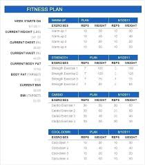 Workout Table Template Weight Training Schedule Template
