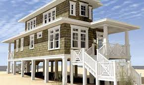 Tiny house river stilts home plans blueprints 83623. Modern Beach House Plans Stilts House Plans 170538