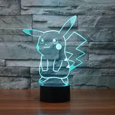 Decora Led Night Light Pokemon Pikachu 3d Led Night Light 3d Optical Illusion Visual Lamp 7colr Us Sell