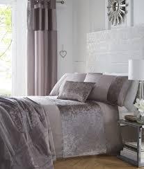 details about boulevard mink brown crushed velvet strip super king size duvet quilt cover set