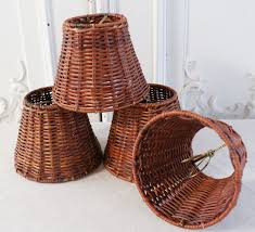 wicker chandelier with lamp shades
