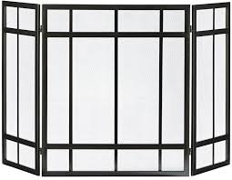 details about fireplace screen 3 panel black mission style hearth cover metal steel wenge fire