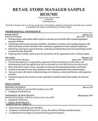 Gallery Of Retail Manager Resume Examples