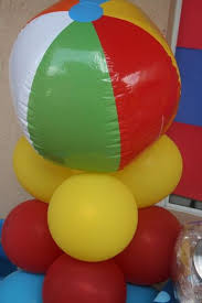 Beach Ball Decoration Ideas would be cute to guess how many beach balls are in the jar 34