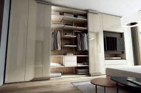 Sectional lacquered wood and glass wardrobe with built-in TV ROOMY |  Wardrobe with built