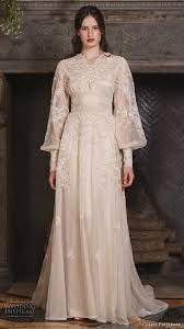 art nouveau wedding dress. claire pettibone fall 2017 bridal long bishop sleeves small v neck full embellishment lace embroidered vintage art nouveau wedding dress p