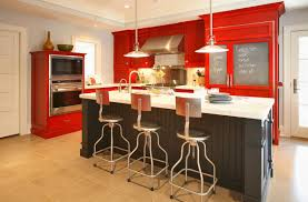 Red Black Kitchen Themes Kitchen Red Cabinet Paints Also Unique Bar Stools Feat Black And