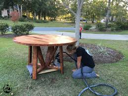 diy round outdoor table. DIY Round Trestle Dining Table - Step 11 Diy Outdoor N
