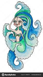 акварельный карандаш иллюстрация знак зодиака водолей девушка с