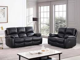toby black leather recliner 3 2 sofa set