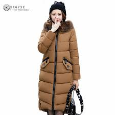 Long Hooded Fur Parka Winter Woman Quilted Jackets Plus Size ... & Long Hooded Fur Parka Winter Woman Quilted Jackets Plus Size Ladies Coats  Down Cotton Padded Warm Adamdwight.com