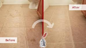before and after of a bathroom floor tile and grout cleaning in phoenix arizona