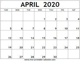 Printable Calendars For 2020 April 2020 Printable Calendar Free Printable Calendar Com
