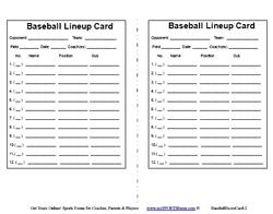 Blank Baseball Forms
