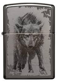 <b>Зажигалка Zippo Wolf Design</b> с покрытием Black Ice, латунь/сталь ...