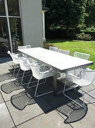 modern concrete patio furniture. Awesome Outdoor Modern Furniture And A Concrete Table White Metal Chairs For Simple . New Patio I
