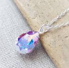 aurora borealis swarovski crystal necklace ab teardrop sterling silver necklace bridal necklace bridal crystal jewelry crystal pear drop