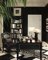 black & white office idea, minus the zebra rug; replace with a plain black  one instead.