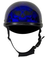 Motorcycle Riding Shiny Eagle Blue Burning Skull Design