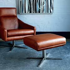 leather swivel chair and ottoman west elm modern