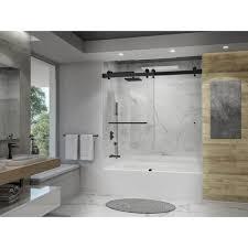 frameless bypassing sliding tub door