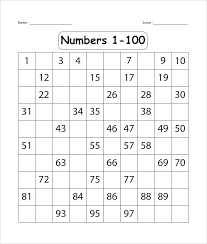 Kindergarten Number Worksheets For Math Counting 1 Numbers 100 ...