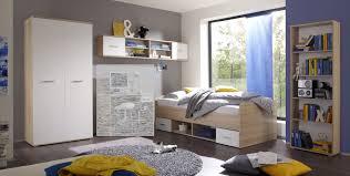 Jugendzimmer Set Nanu 4tlg Komplett Bett Schrank Regale Eiche