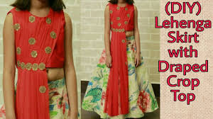 Skirt Top Stitching Designs How To Stitch Designer Lehenga Skirt With Draped Crop Top Cutting And Stitching