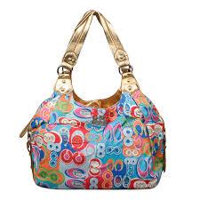 Coach Fashion Poppy Signature Medium Blue Multi Shoulder Bags ENI