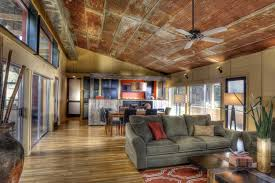 corrugated metal ceiling with wall decor family room traditional and