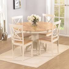 elson round oak and cream 4 seater dining set 8452