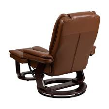flash furniture contemporary brown vintage leather recliner and ottoman with swiveling mahogany wood base bt